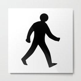 Walking Man Silhouette Metal Print