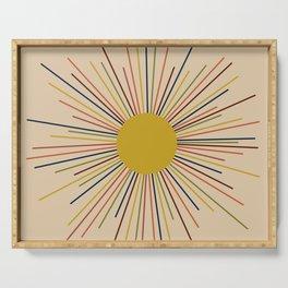 Mid-Century Modern Sunburst - Minimalist Abstract Sun in Mid Mod Mustard, Orange, Olive, Blue, and Beige Serving Tray