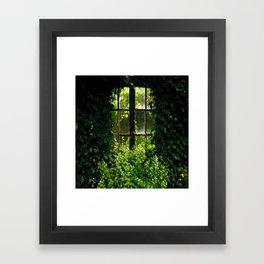 Green idyllic overgrown cottage garden window Framed Art Print