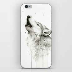 Wolf Howling Watercolor Animals Wildlife Painting Animal Portrait iPhone Skin