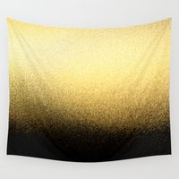 black and gold Wall Tapestries featuring Black & Gold  by Ciro Design