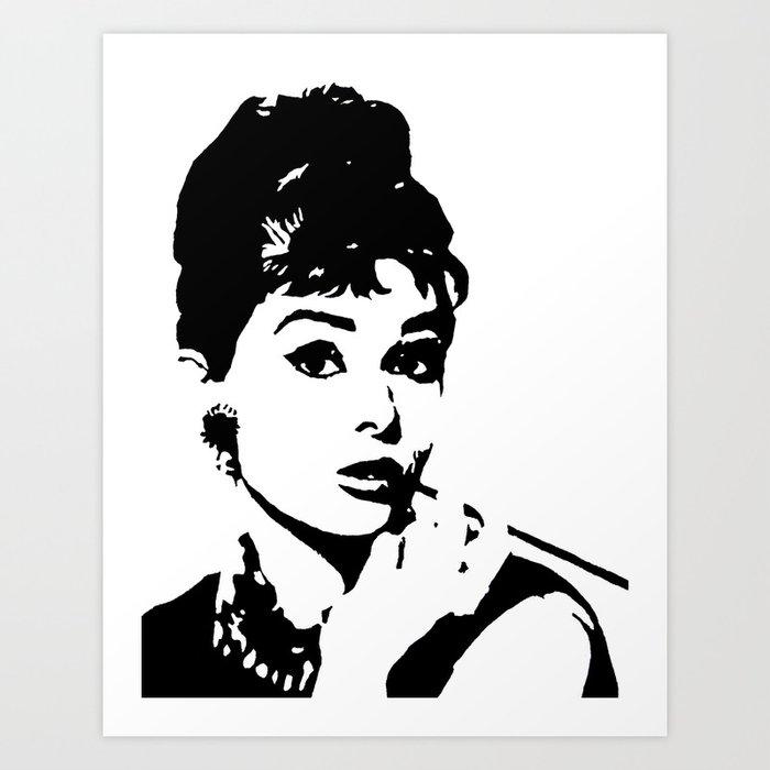 Audrey Hepburn monochrome pop art, black & white stencil art, hand ...
