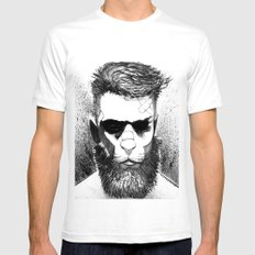Lion man SMALL Mens Fitted Tee White