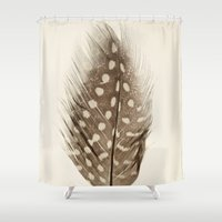 feather Shower Curtains featuring Feather by Mina Teslaru