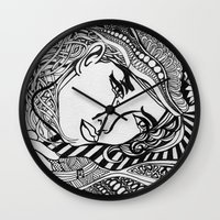 lichtenstein Wall Clocks featuring Zentangle Lichtenstein by butterflyandbear