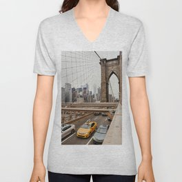 View on the manhatten from the Brooklyn Bridge in New York City, USA | New York City yellow caps driving | Travel photography | NY building architecture photo Art Print  Unisex V-Neck
