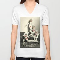 nudes V-neck T-shirts featuring RECLINING NUDE CLOWNS (censored) by Julia Lillard Art