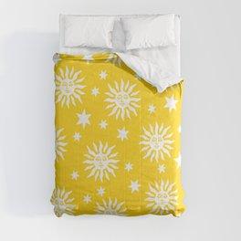 Mid Century Modern Sun and Star Pattern Yellow Comforters