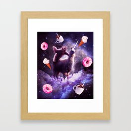 Outer Space Sloth Riding Llama Unicorn - Donut Framed Art Print