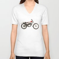 honda V-neck T-shirts featuring Honda TL250 by MrsSudo