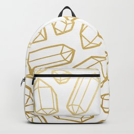 Gold and White Gemstone Pattern Backpack