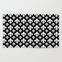 Fleur De Lis White on Black Rug