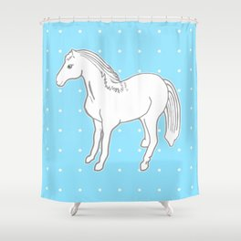 White Horse with Light Blue & Polka Dots Shower Curtain