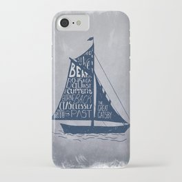 Great Gatsby Hand-Lettered Boat Art iPhone Case