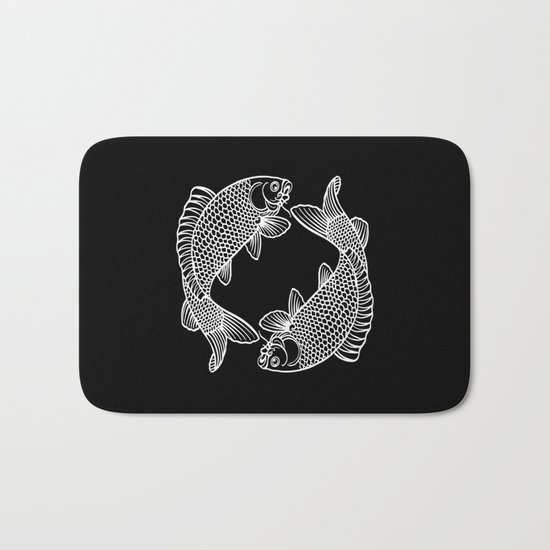 Black White Koi Bath Mat