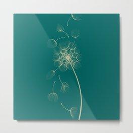 Dandelion of Teal Metal Print
