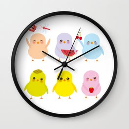 Kawaii blue green orange pink yellow chick with pink cheeks and winking eyes, pastel colors Wall Clock