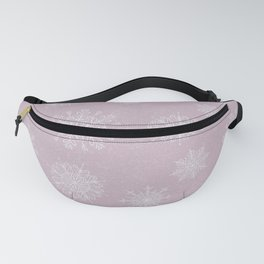 Assorted Snowflakes On Pink Background Fanny Pack