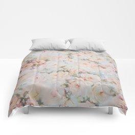 Vintage romantic blush pink ivory elegant rose floral Comforters