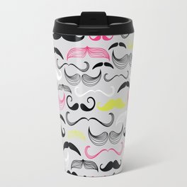 Hipster Neon Mustaches Travel Mug