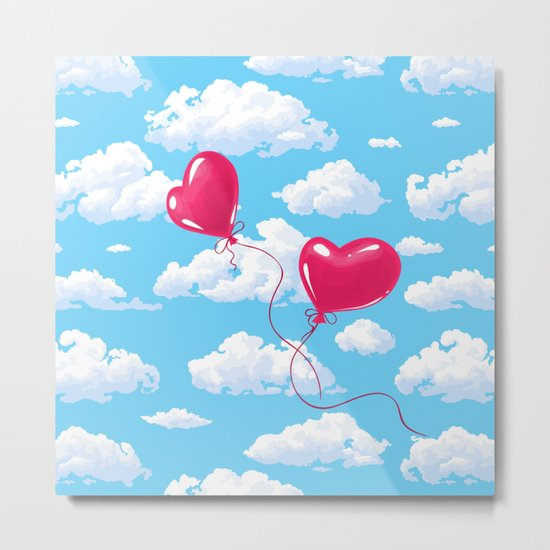 Two heart shaped red balloons Metal Print