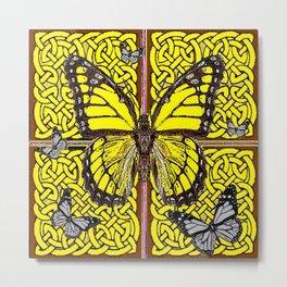 Yellow & Grey Celtic Monarch Butterfly Brown Art Metal Print