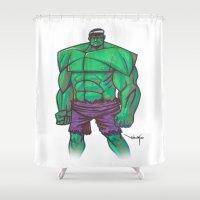 hulk Shower Curtains featuring Hulk by Nioko