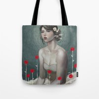 laura palmer Tote Bags featuring Laura by Lek Chan