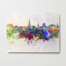 Toulouse skyline in watercolor background Metal Print