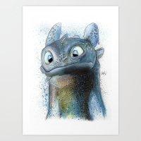 toothless Art Prints featuring Toothless by Luke Jonathon Fielding