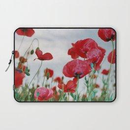Field of Poppies Against Grey Sky Laptop Sleeve