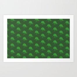 Simple green beetle pattern Art Print