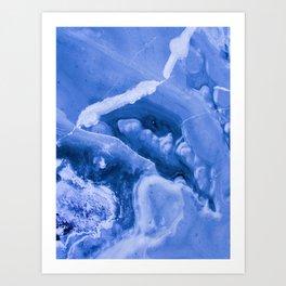 Blue Icy Granite Marble (Color) Art Print