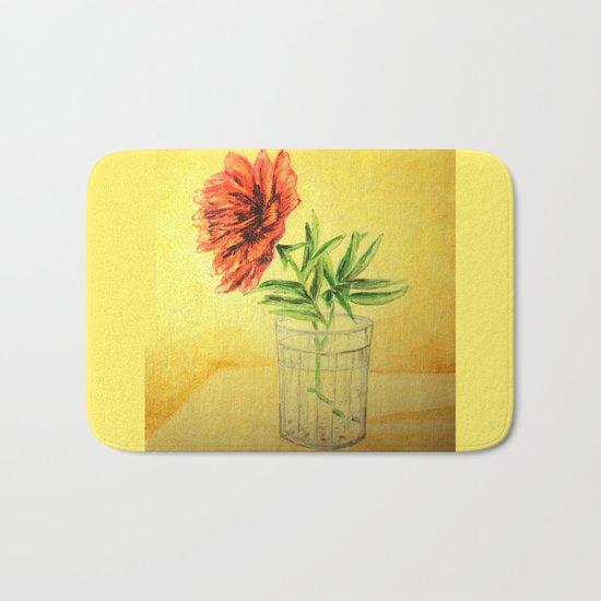 flower in a glass Bath Mat