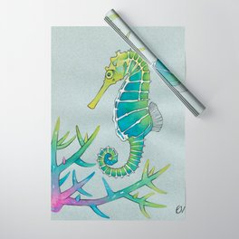 Neon Seahorse Wrapping Paper