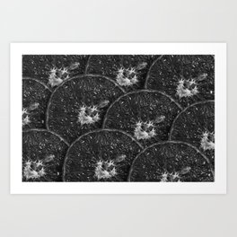Dark sliced oranges fruit texture Art Print