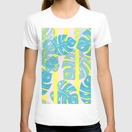 Linocut Monstera Neon T-shirt