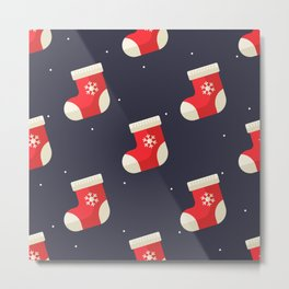 Red Christmas Stocking Pattern Metal Print