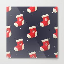 Red Christmas Stocking Pattern Metal Print