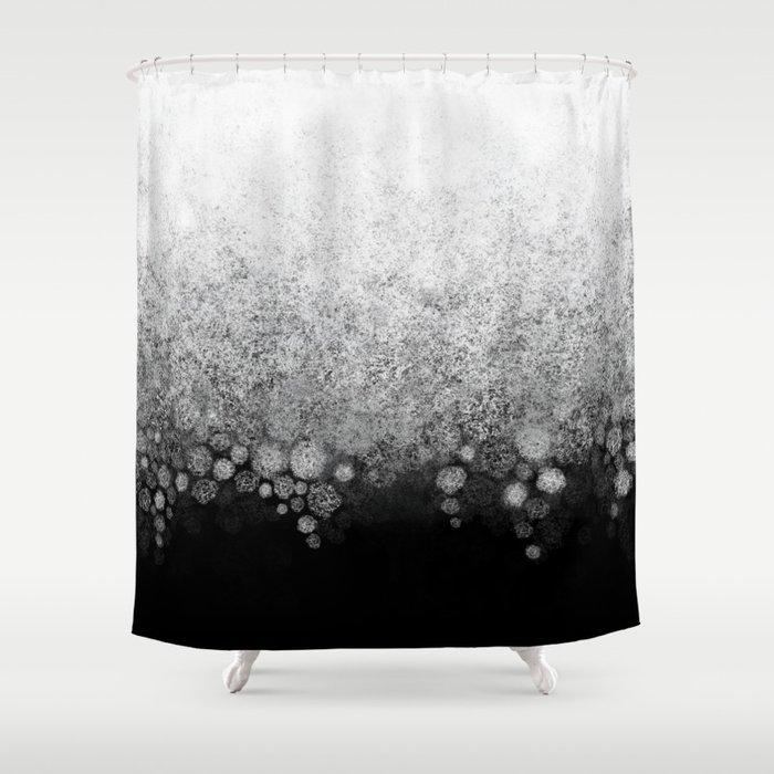 Snowfall On Black Shower Curtain By Katherinefriesen