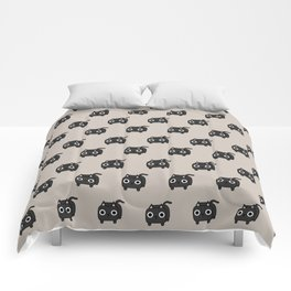 Cat Loaf - Black Kitty Comforters