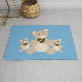 Teddy Bears Triplet - Blue Rug