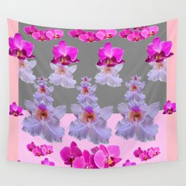 PURPLE  FUCHSIA ORCHIDS  SPRINKLES ON  GREY-PINK ART Wall Tapestry