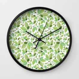 green leaves pattern, green foliage without gradient for printing Wall Clock