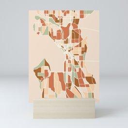 SEATTLE WASHINGTON CITY MAP EARTH TONES Mini Art Print
