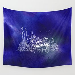 Dino skull – Blue Wall Tapestry