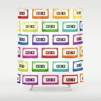 cassette Shower Curtains featuring Cassette Tapes by Sara Showalter
