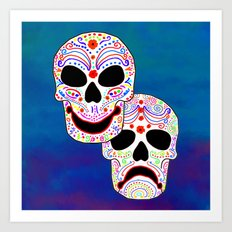 Comedy-Tragedy Colorful Sugar Skulls Art Print