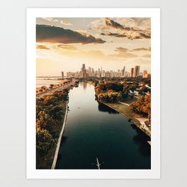 Chicago view from a drone Art Print