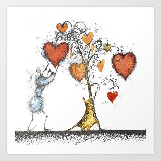 Tree of hearts Art Print
